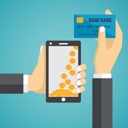 phone card: Man hands holding mobile phone and credit card. Concept of mobile payment app, payments application system, money transfer.