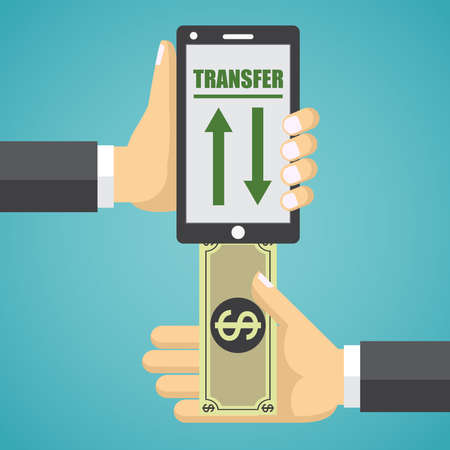 money online: Mobile banking design vector illustration. Human hand with mobile phone and banknote.