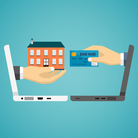 house exchange: Ecommerce vector flat illustration. Hand with credit card and hand with house. Illustration