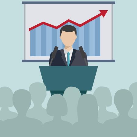 tribune: Business Man Tribune Speech People Group Silhouettes Conference Meeting Business Seminar Flat Vector Illustration