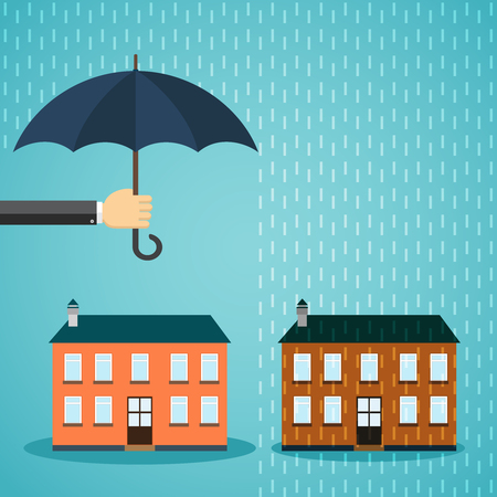 banking problems: Hand with umbrella protecting house. Insurance, crisis, financial problems, mortgages and banking service