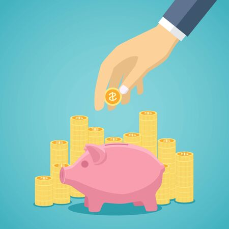 money and saving: Money saving concept. Vector illustration in flat style design. Piggy bank, gold stacks and hand with coin. Illustration