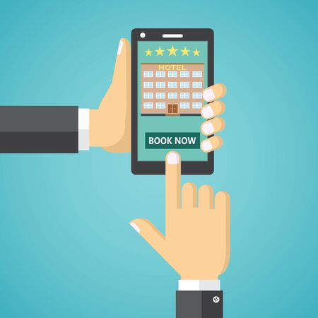 hotel booking: Illustration of booking a hotel room on a mobile device.