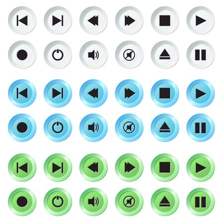 navigation panel: White, blue and green plastic navigation button vector player set