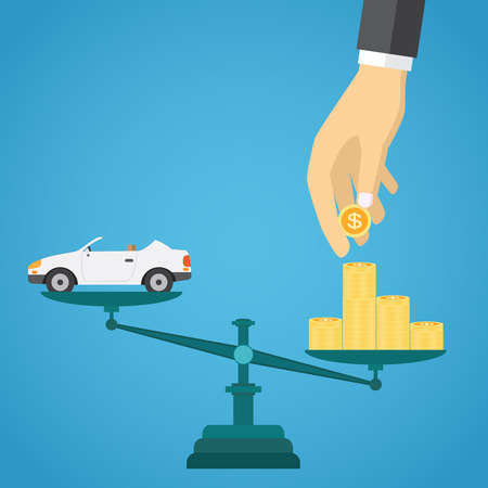 Scales with car and gold coins on the blue background.