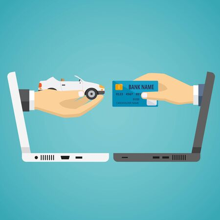 exchanging: Human hands from laptop exchanging credit card and car on the blue background.