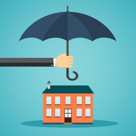 Mano que sostiene el paraguas sobre una casa en estilo plano
