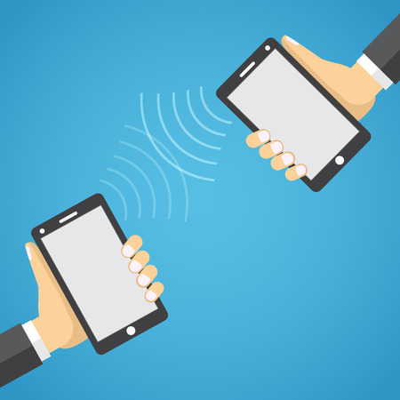 linked services: Two mobile devices connected together in a flat design style. Illustration