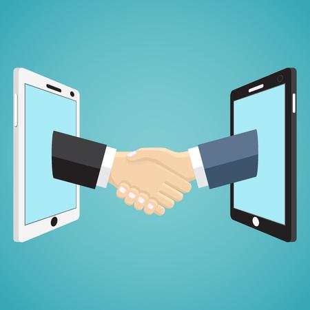 handshaking: Handshaking businessmen hands from mobile phones on the green background. Illustration
