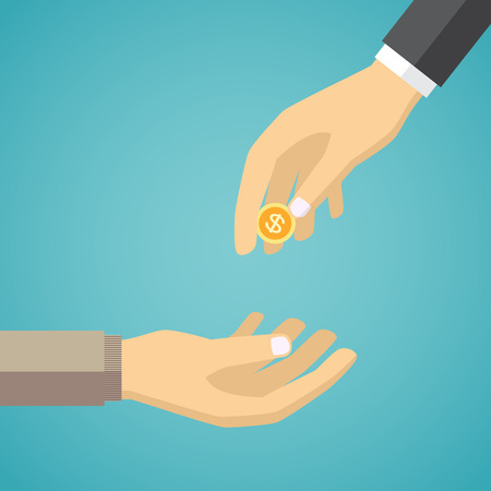 homelessness: Hand giving golden coin to another hand. Charity concept in flat style.