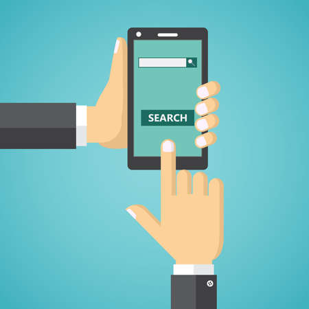 search button: Human hands holding mobile phone with internet search field and search button on the screen. Illustration