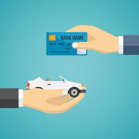 Human hands exchanging credit card and car, vector illustration on the green background. Illusztráció