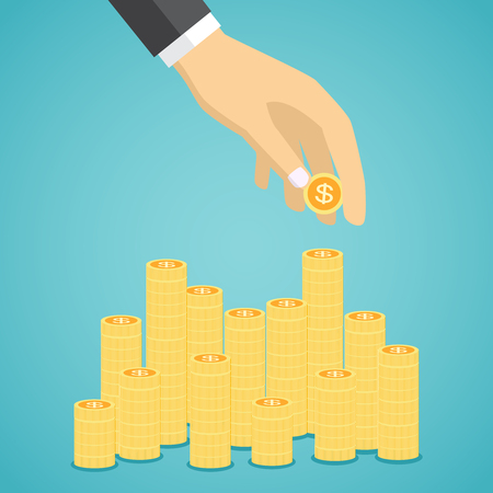making money: Hand put coin to stacks of golden coins. Profit. Making money. For business and finance concept.