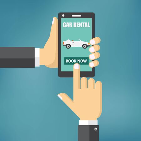 Renting: Illustration of renting a car with a mobile device.