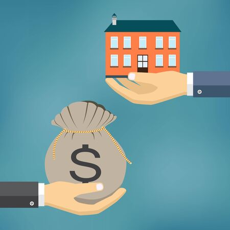 exchanging: Hands with house and money  bag. Exchanging concept. Flat design style. Illustration