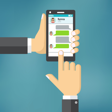 phone hand: Hand Holding Phone with Message Template in flat design.