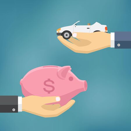 Hands with car and money bag. Exchanging concept. Flat design style.