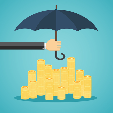 capital: Hand holding umbrella to protect money. illustration for financial savings concept. Illustration