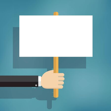 protest: Hand holding blank protest boards in flat style.