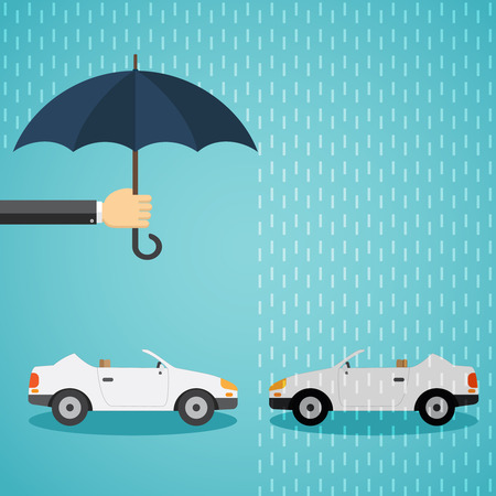 One car under protection of hand with an umbrella and another car without protection. Illustration