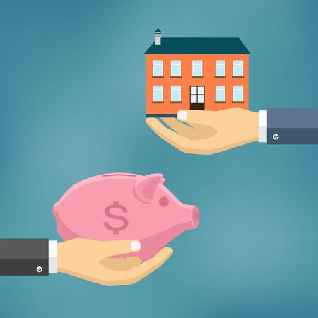 deposit: E-commerce flat illustration. Hand with piggy bank and hand with house.