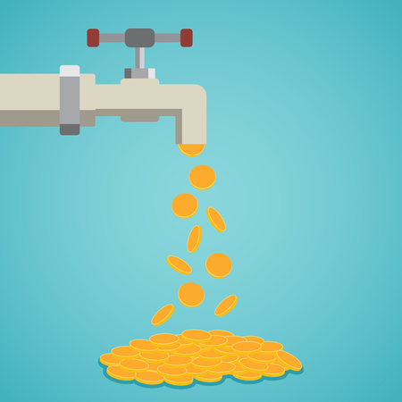 cash: Golden coins fall out of the tap. Vector illustration