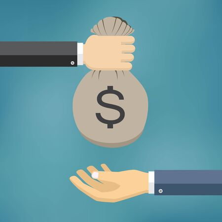 hand with a bag of money: Human hand gives money bag to another person. Payment vector illustration. Illustration