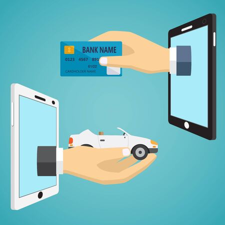 phone hand: Hands with car and credit card in flat design.