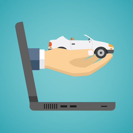 car show: Hand holding car from screen of notebook. Flat design. Illustration