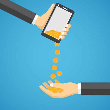 Gold Coins Falling From Mobile Phone to Man Hand.
