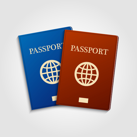 migrating: Blue and red passports on grey background. International identification document for travel.