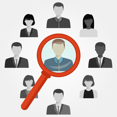 headhunter: Hand with magnifying glass search employee for recruitment agency.