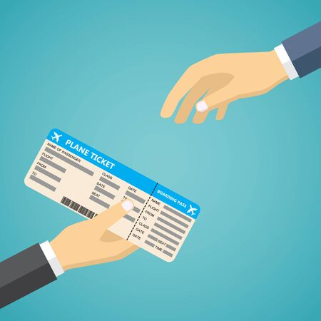 receiving: Businessman Receiving Boarding Pass from check-in Attendant. Hand Holding Boarding Pass.