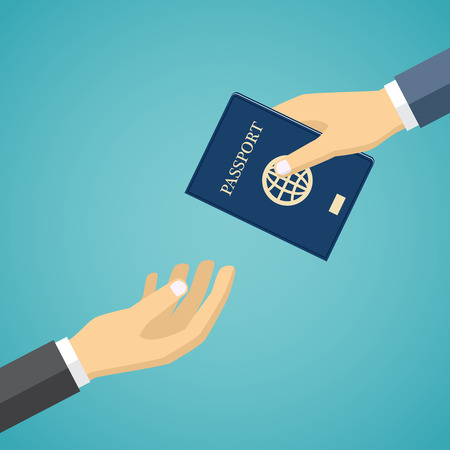 foreign national: Businessman hand receiving passport from another hand. Illustration