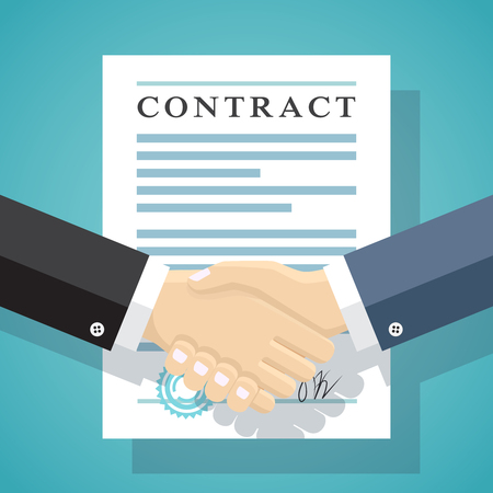 business contract: Handshake of business people on the background of the contract. Illustration