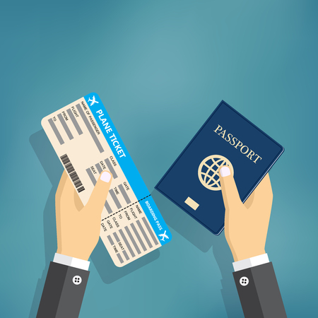 emigration: Boarding Pass and Passport in hands. travel concept. vector illustration in flat design, on blue background.
