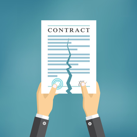 tearing: Contract termination concept. Businessman hands tearing apart a contract.