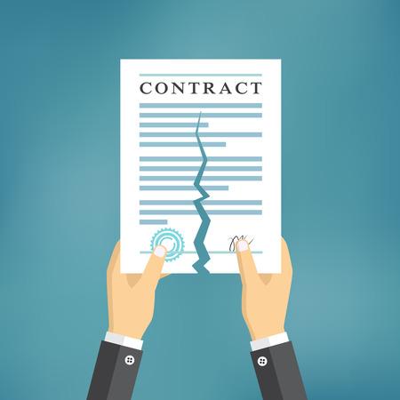 Vertragsbeendigung Konzept. Geschäftsmann Hände, die einen Vertrag zerreißt.