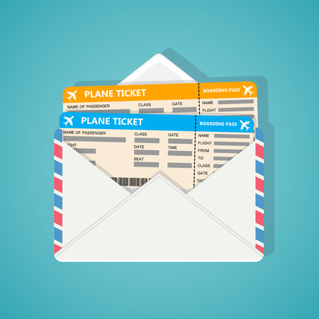 plane tickets: Two plane tickets in corporate envelop on blue background.