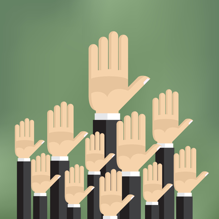 raised hand: Raised hands on the green background in flat style.