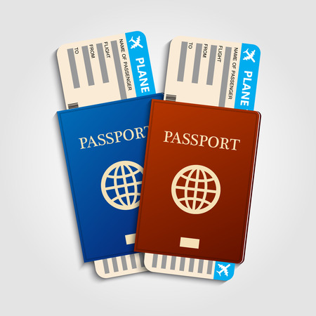 vocation: Red and blue passports with tickets. Holiday and vocation concept.