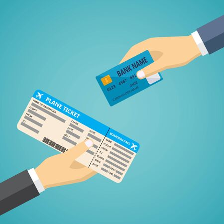 boarding card: Ecommerce vector flat illustration. Hand with credit card and hand with airplane boarding pass. Illustration