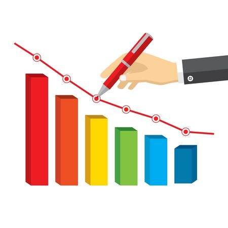 red pen: Illustration of red pen in hand drawing a declining negative growth on the white background. Illustration