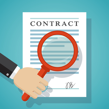 Contract inspection concept. Hand holding magnifying glass over a contract. Illustration