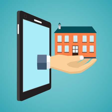 hand holding house: Hand holding house from screen of smartphone. Flat design.