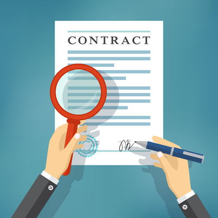 signing contract: Hand checking contract with a magnifying glass before signing. Contract inspection concept. Hands holding magnifying glass and pen over a contract.