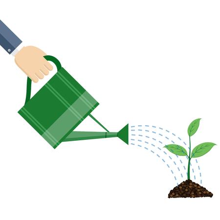 Main arrosage tenant peut arrosage plante, concept d'entreprise, design plat. Vecteurs