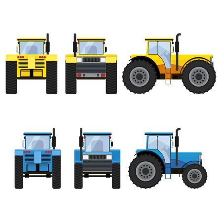 front view: Yellow and blue tractors with big wheels isolated on the white background. Front, rear and side views. Illustration