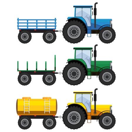 motor de carro: Conjunto de tractores agrícolas con vagones cisterna y en el fondo blanco. Vectores