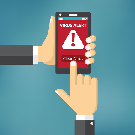Virus on mobile phone concept. Hand holding mobile phone with virus alert text on the screen. Flat style Illustration